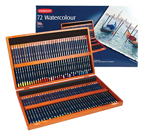 Derwent Colored Pencils, WaterColour, Water Color Pencils, Drawing, Art, Wooden Box, 72 Count (32891)