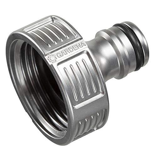 Gardena Premium Hahnverbinder 33.3 mm (G 1 Zoll): Adapter für Wasserhähne, wertiges Metall, spritzfreier Wasserfluss, frostsicher, verpackt (18242-20)