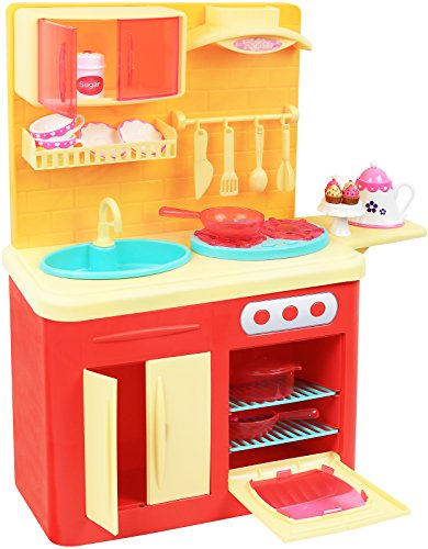 Click N' Play 22 Piece 18' Doll Kitchen Play Station with Accessories, Lights and Sounds-Perfect for 18 inch American Girl Dolls