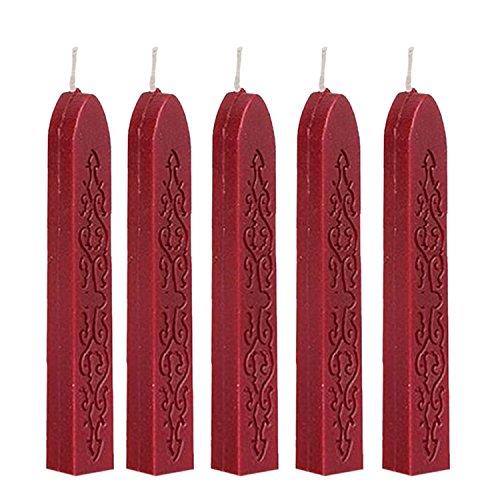 Worsendy sellos de lacre,Sello de cera, color rojo vino Wax Wick Sticks,Palo de Lacre con Mecha de Antiguo Manuscrito y (10)