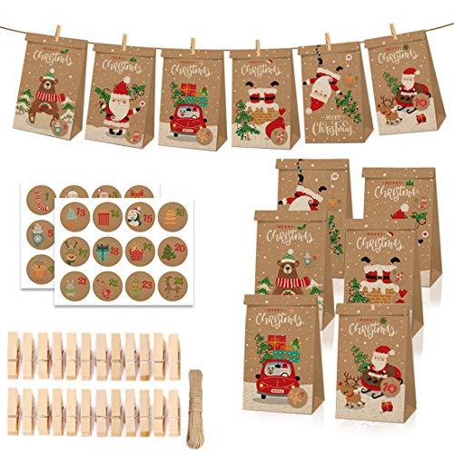 O-Kinee Adventskalender zum Befüllen, Adventskalender Kraftpapiern Tüten, 24 Adventskalender Schachteln, 1-24 Adventszahlen Aufkleber für Kinder DIY Weihnachtliche Dekoration