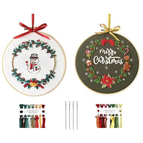 刺繍キット 刺しゅう クリスマス飾り クロスステッチキット 初心者向け DIY 手作り 刺繍枠2本 内径約20CM 刺繍糸 刺繍用布2枚 刺繍工具 初心者学ぶ