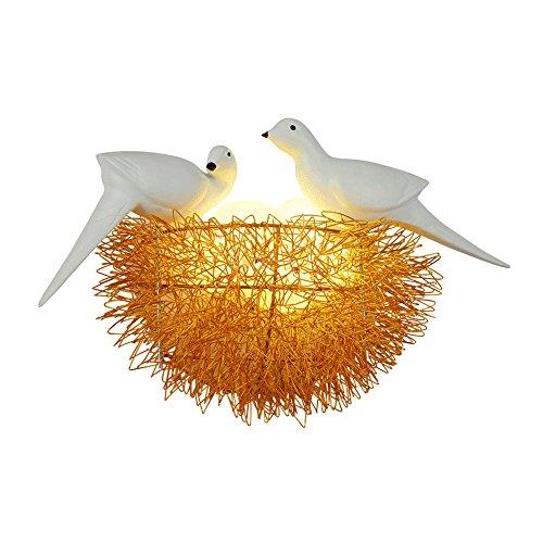 HNWNJ Candelabros de Pared Habitación para niños Comedor Dormitorio Lámpara de Vidrio Creativo Pequeño Pájaro Nido Resina Lámpara de Pared Lámpara de Estudio Saladilla Aisle Lámpara de Pared LED