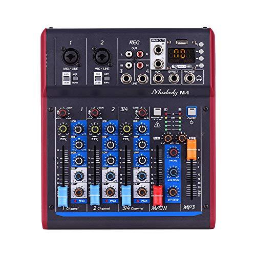 Muslady Mezclador Digital Profesional de 4 Canales Consola Mezcladora Alimentación Phantom Incorporada de 48 V con Efectos de Reverberación Función BT para Grabación de Estudio Emisión Red DJ Live