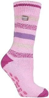 Original Non-Slip Thermal Slipper Socks Fluffy Winter Warm (Pink Stripe)