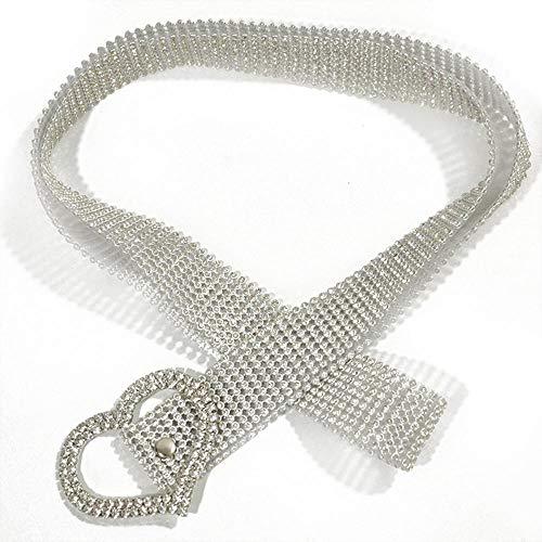 Gürtel Damen Glänzender Gürtel Taillenkette Kristalllegierung Diamantgürtel Voller Strass Luxus Partygürtel Weiß