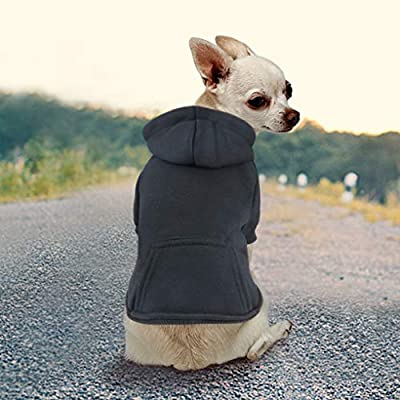 Idepet Dog Cat Hoodie Cotton Pet Coats Solid Color Clothing for Small Dogs Puppy Teddy Poodle Chihuahua (XL, Black)