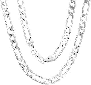 سلسلة من الفضة الإسترلينية الصلبة للرجال من فيجارو لينك 925 ITProLux سلسلة 6 مم - 10.5 مم، سلسلة فضية للرجال، قلائد للرجا...