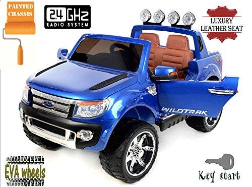 FORD RANGER Wildtrak de lujo, Azul Lacado, producto BAJO LICENCIA, con mando a distancia 2.4Ghz Bluetooth, apertura de puertas y...