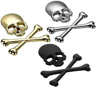 ADFLJK 1Pc Shone 3D Skull Metal Skeleton Crossbones Motorcycle Car Sticker Label Skull Emblem Badge Car Styling Sticker Accessories