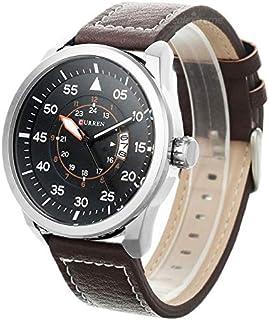 Curren leather Belt Watch for Men, Brown, 8210SBR