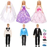 SOTOGO 18 Pieces Doll Clothes and Accessories for 11.5 Inch Girl Boy Doll Happy Wedding Playset Include 6 Sets Handmade Doll Groom Suit, Wedding Dress and 6 Pairs Shoes
