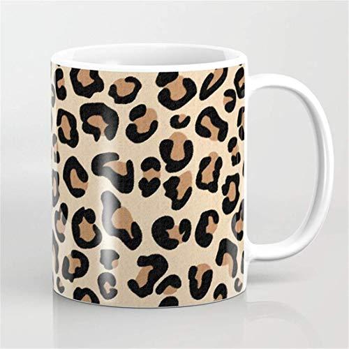 Taza de café con estampado de leopardo, negro, marrón, óxido y bronceado, taza con estampado de animales, taza salvaje de animales
