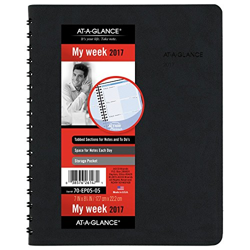 "AT-A-GLANCE Weekly Appointment Book / Planner 2017, The Action Planner, 7 x 8-3/4"", Black (70-EP05-05)"