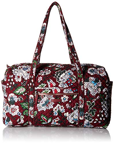Vera Bradley Women's Signature Cotton Large Travel Duffel Travel Bag, Bordeaux Blooms, One Size