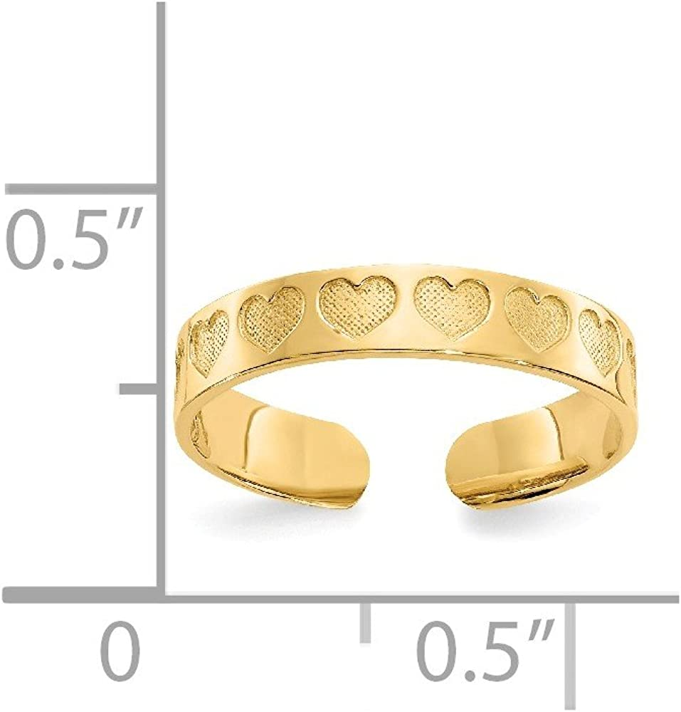 14k Yellow Gold Heart Adjustable Cute Toe Ring Set Fine Jewelry For Women Gifts For Her