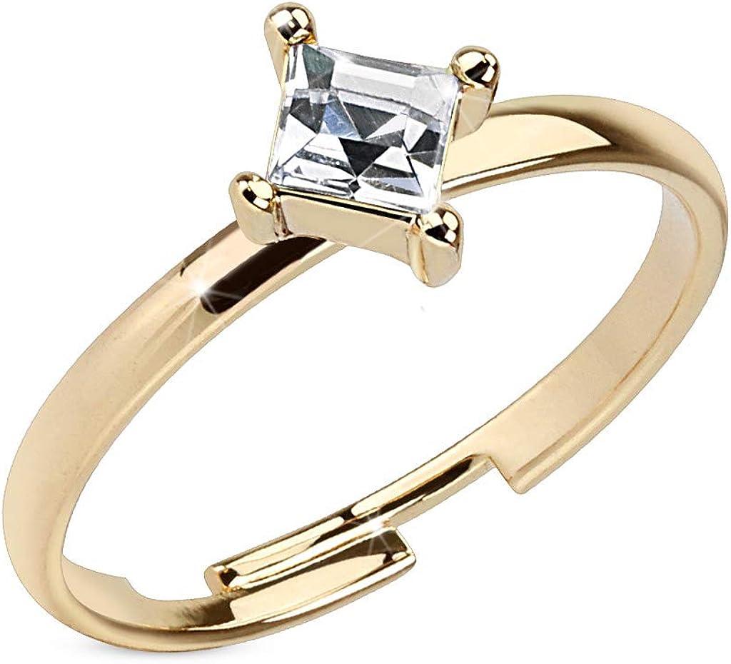 Amelia Fashion Single Pronged Square CZ Adjustable Brass Toe/Mid Finger Ring