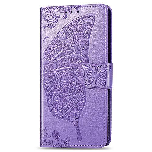 Hülle Handyhülle for Huawei Mate 20, Premium Leder Flip Schutzhülle [Standfunktion] [Kartenfächer] [Magnetverschluss] lederhülle klapphülle für Huawei Mate20 - TTSD010142 Lila