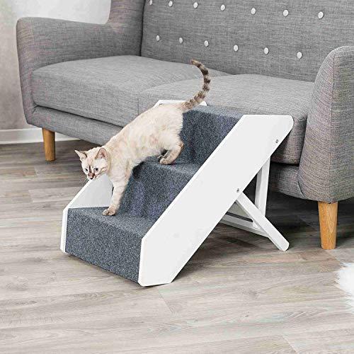 Trixie 39488 - Escalera para Animales de compañía (Ajustable, 3 Niveles, 40 x 67 cm), Color Blanco
