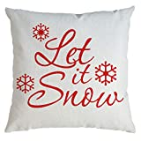 JFLYOU Pillow Covers,2020 Merry Christmas White Base Red Letter Print Decorative Sofa Cushion Cover 18x18 inch(C,45x45cm)