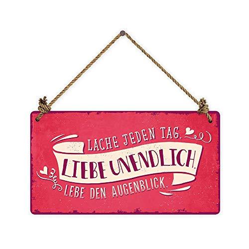 Grafik Werkstatt Wand Vintage-Art   Lache jeden Tag. Liebe unendlich. Lebe den Augenblick   Retro   Nostalgic   Pappschild mit Kordel  Deko-Schild Cardboard, Pappe, bunt, 22 x 12 cm