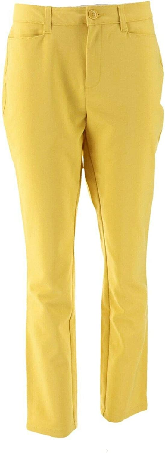 Denim & Co. Double Weave Straight Leg Ankle Pant Golden Yellow 18W New A349218