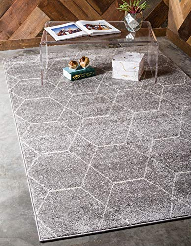 Unique Loom Trellis Frieze Collection Lattice Moroccan Geometric Modern Light Gray Area Rug (5' 0 x 8' 0)