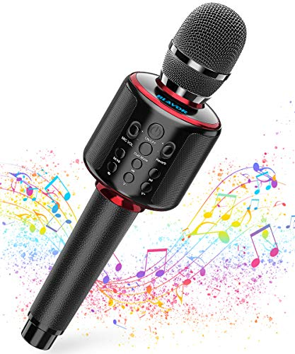 Wireless Bluetooth Karaoke Microphone with Dual Sing, Leather Portable Handheld Mic Speaker Professional Machine for iPhone/Android/PC/TV Birthday Gifts Toys for Girls Boys Adults All Age(Jet Black)