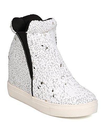 Cape Robbin Uneek-1 Women Sequin High Top Hidden Wedge Sneaker,White,7.5