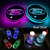 Autoxo LED Car Cup Holder Lights for Ford 7 Colors Changing USB Charging Mat Luminescent Cup Pad LED Interior Atmosphere Lamp 2Pcs