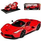 Bburago Ferrari LaFerrari Coupe Rot mit Schwarzen Felgen Ab 2013 1/18 Modell Auto