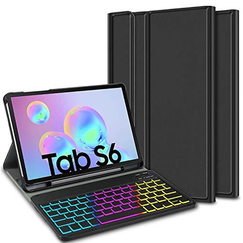 ELTD Funda con Teclado Español Ñ para Samsung Galaxy Tab S6 SM-T860/T865, Teclado inalámbrico 7 Colores Cubierta de Teclado retroiluminada de Tres particiones, (Negro)