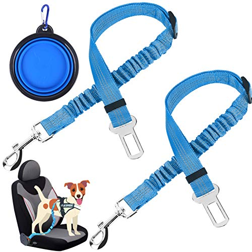 """voopet Dog Seat Belt 2 Packs Adjustable Heavy Duty & Elastic Pet Car Seat Belt Safety Leads Vehicle Nylon Seatbelt Harness Pet Leash for Travel and Daily Use (Blue,25.5""""-35"""")"""