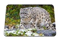 22cmx18cm マウスパッド (ユキヒョウ猫捕食者雪草) パターンカスタムの マウスパッド