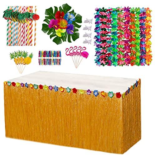 ZFFLYH DIY Hawaii Tropical Vestido De Mesa Flores Playa Playa Mesa De...