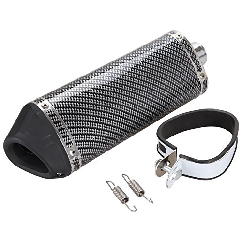 Iglobalbuy 38mm Motorcycle Scooter Exhaust Muffler Pipe W/Movable Silencer Carbon Fiber