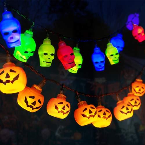 GIGALUMI Set di 2 luci da fata Scheletro di zucca Luci di Halloween Decorazione a batteria per Halloween, Natale, Pasqua, Carnevale ecc.