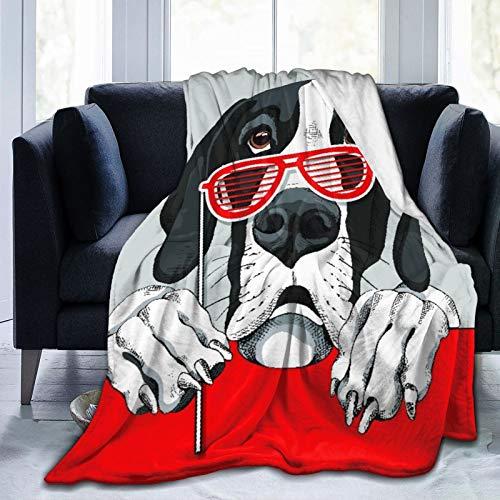 Judascepeda Ropa de Cama Liviana y cómoda, Perro Gran danés con una Cabina de Fotos de Gafas de Parrilla roja, una Manta Adecuada para Todas Las Estaciones es Adecuada para 60 'X 50'
