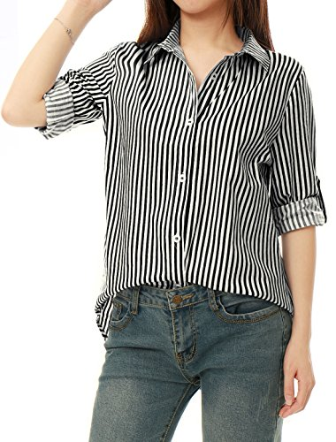 Allegra K Women's Button Down Roll-up...