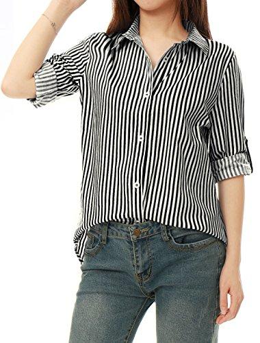 Allegra K Women's Vertical Stripes...
