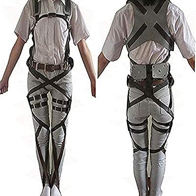 HiRudolph 1 X Cosplay Attack on Titan Shingeki no Kyojin Recon Corps Belt Hookshot Costume, Browen, free size by HiRudolph