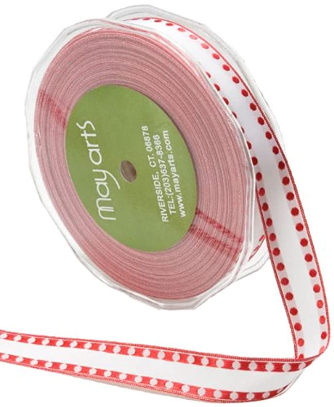 May Arts 5/8-Inch Wide Ribbon, White with Red Dots