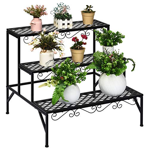 Giantex 3 Tiers Metal Plant Stand, Ladder Plant Display Rack, 3 Tier Step Flower Pots Holder, Freestanding Home Decor Shelves, Utility Storage Organizer Rack for Garden Patio Balcony