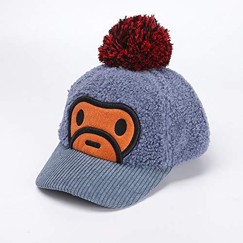 Sombrero para niños Modelos de otoño e Invierno más Terciopelo cálido Bola de Pelo Grande Mono Gorra de niño Sombrero de bebé Coreano Marea