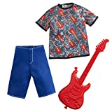 Barbie Ken Career Fashion Pack GRC71 - Conjunto de ropa rockera - Camiseta gráfica + pantalones cortos + guitarra - Nuevo