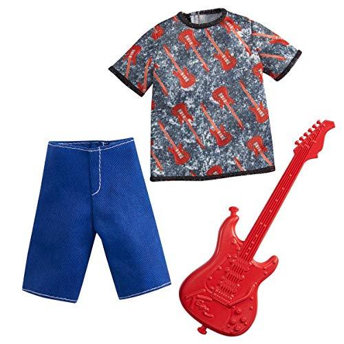 Barbie Ken Career Fashion Pack - GRC71 - Rocker-Kleidungsset - Grafik-T-Shirt + Shorts + Gitarre - Neu