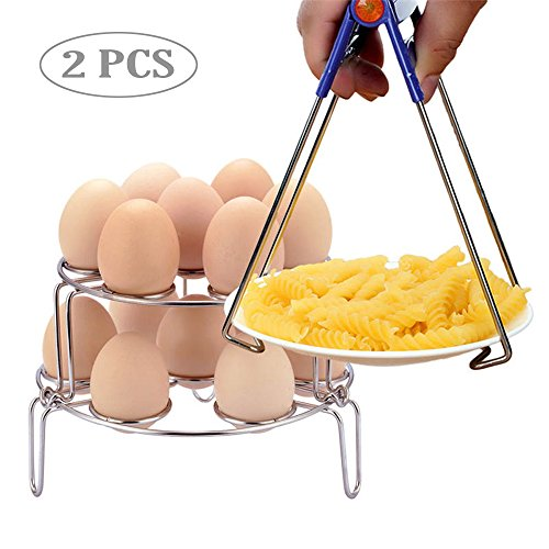 2 Pack Food Steamer Rack For Steamers, Stock & Pasta Pots, Stackable Stainless Steel Egg Cooker Rack, Multipurpose Cookware Vegetable Steamer Rack Stand Holder, For Seafood, Potatoes, Meat, Fis