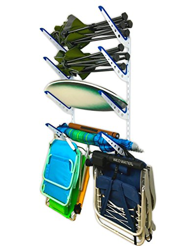 Sistema de respaldo ajustable: guarda todas tus sillas, paraguas, tableros y engranajes en múltiples brazos ajustables conectados a la pista de pared ranurada. Acero resistente: lo suficientemente fuerte como para sostener varias sillas en cada brazo...