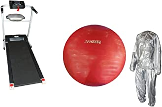 Electric treadmill with built-in massage With Yoga ball World Fitness red 75 cm and Sauna suit size XXXL