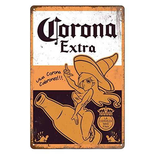 Targa in latta retrò vintage, corona extra birra, Home Bar Man Cave Diner Garage Man Cave Decor, 20 x 30 cm